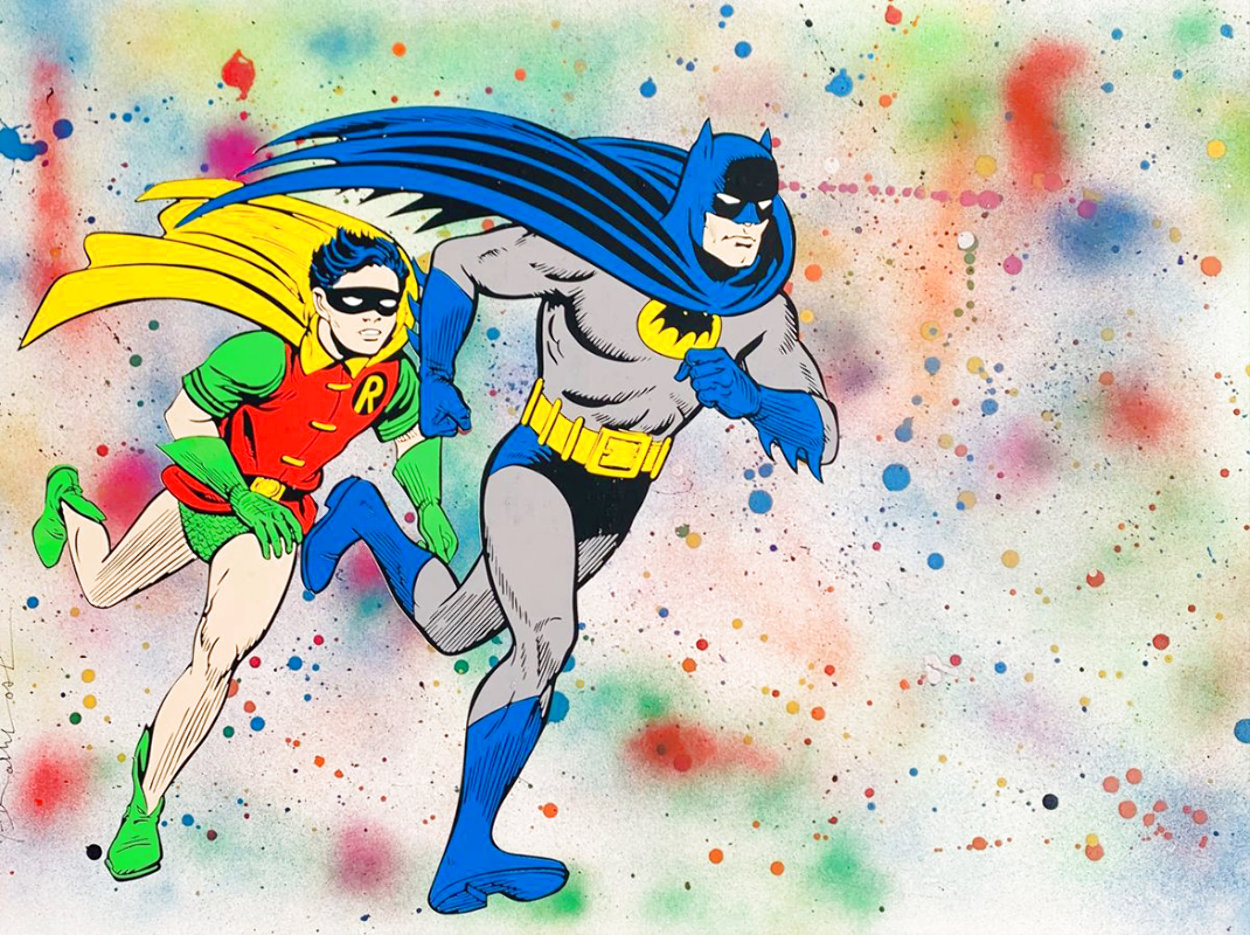 Batman & Robin Unique 2017 22x30 Works on Paper (not prints) by Mr. Brainwash
