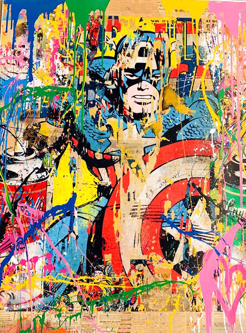 Captain America Unique 2017 50x38 Huge Works on Paper (not prints) by Mr. Brainwash