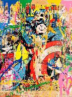 Captain America Unique 2017 50x38 Huge Works on Paper (not prints) by Mr. Brainwash - 0