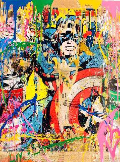 Captain America Unique 2017 50x38 Huge Works on Paper (not prints) - Mr. Brainwash