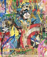 Captain America Unique 2017 50x38 Huge Works on Paper (not prints) by Mr. Brainwash - 1