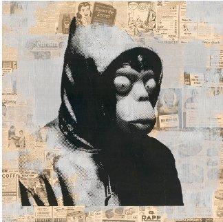 Banksy Mixed Media 2016 50x50 Huge Original Painting - Mr. Brainwash