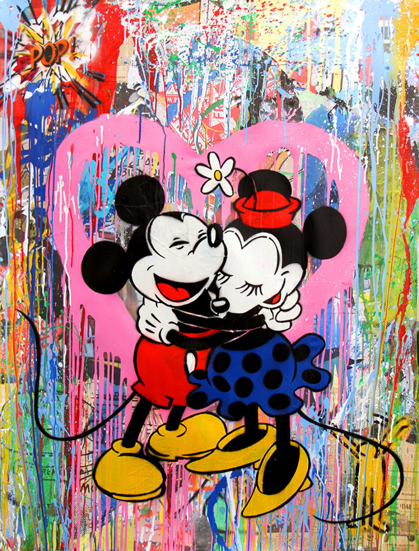 Mickey and Minnie 2015 38x50 Works on Paper (not prints) by Mr. Brainwash