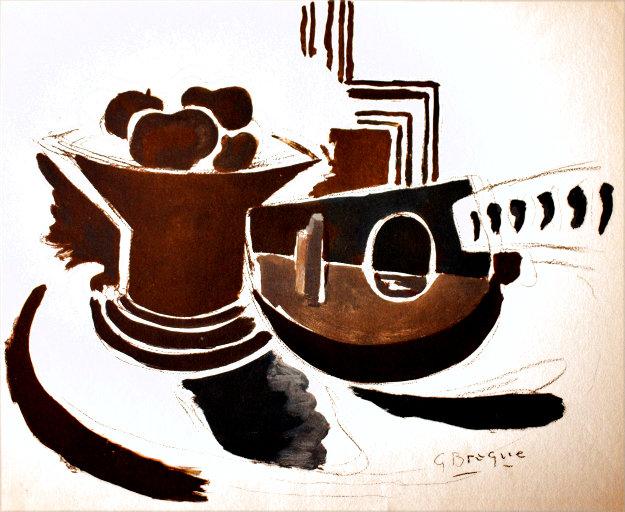 Mandoline Et Plat De Fruit Limited Edition Print by Georges Braque