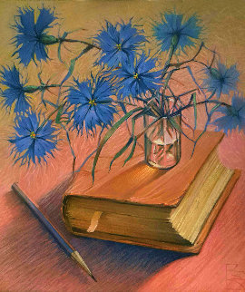 Still Life With Book And Cornflowers 1997 18x16 Original Painting - Victor Bregeda