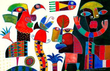 OEl Paisaje De Las Sopresas III 31x47 Huge Original Painting - Clemens Briels