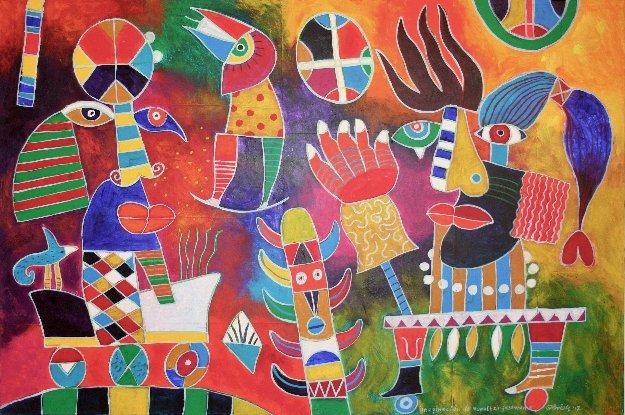 Imaginacionde Nopaltzin De Guadarama 31x47 Original Painting by Clemens Briels