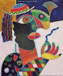 Femme Avec Chapeau Drole 23x19 Original Painting by Clemens Briels