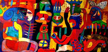 La Feria De Mentiras 59x108 Huge Mural Original Painting - Clemens Briels