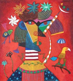 Frida Kahlo, La Paloma 2020 43x39 Huge Original Painting - Clemens Briels