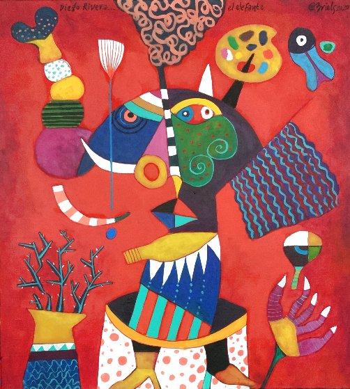 Diego Rivera, El Elefante 2020 43x39 Original Painting by Clemens Briels