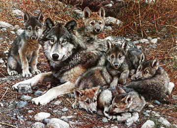 Den Mother Wolf Family 1992 Limited Edition Print - Carl Brenders