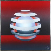 Untitled - Floating Orb on Red 1979 31x31 Original Painting by Patrice Breteau - 1