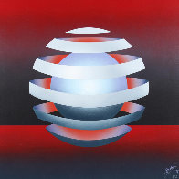 Untitled - Floating Orb on Red 1979 31x31 Original Painting by Patrice Breteau - 0