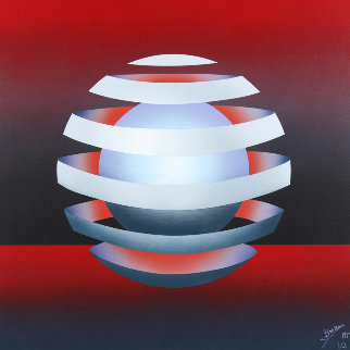 Untitled - Floating Orb on Red 1979 31x31 Original Painting - Patrice Breteau