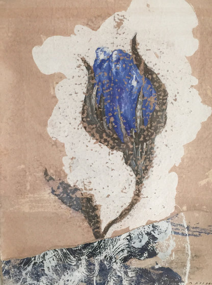 Fleure Bleue I 2003 29x22 Works on Paper (not prints) by Pierre Marie Brisson