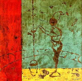 La Puisatiere 2006 48x48 Huge Original Painting - Pierre Marie Brisson