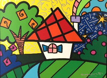 Home 2015 22x28 Original Painting - Romero Britto