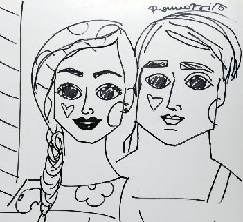 Untitled Drawing 2008 30x33 Original Painting by Romero Britto