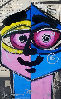 Close Eye 2014 31x24 Original Painting - Romero Britto