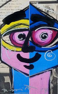 Close Eye 2014 31x24 Original Painting by Romero Britto