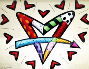 Love Circle Love Sculpture 2014 48x60 in Sculpture - Romero Britto