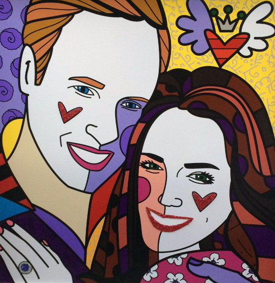 True Love (Yellow) (Will and Kate) 2011 Limited Edition Print by Romero Britto