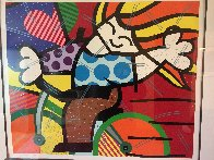 Girl on Bicycle 1992 Embellished Limited Edition Print by Romero Britto - 2