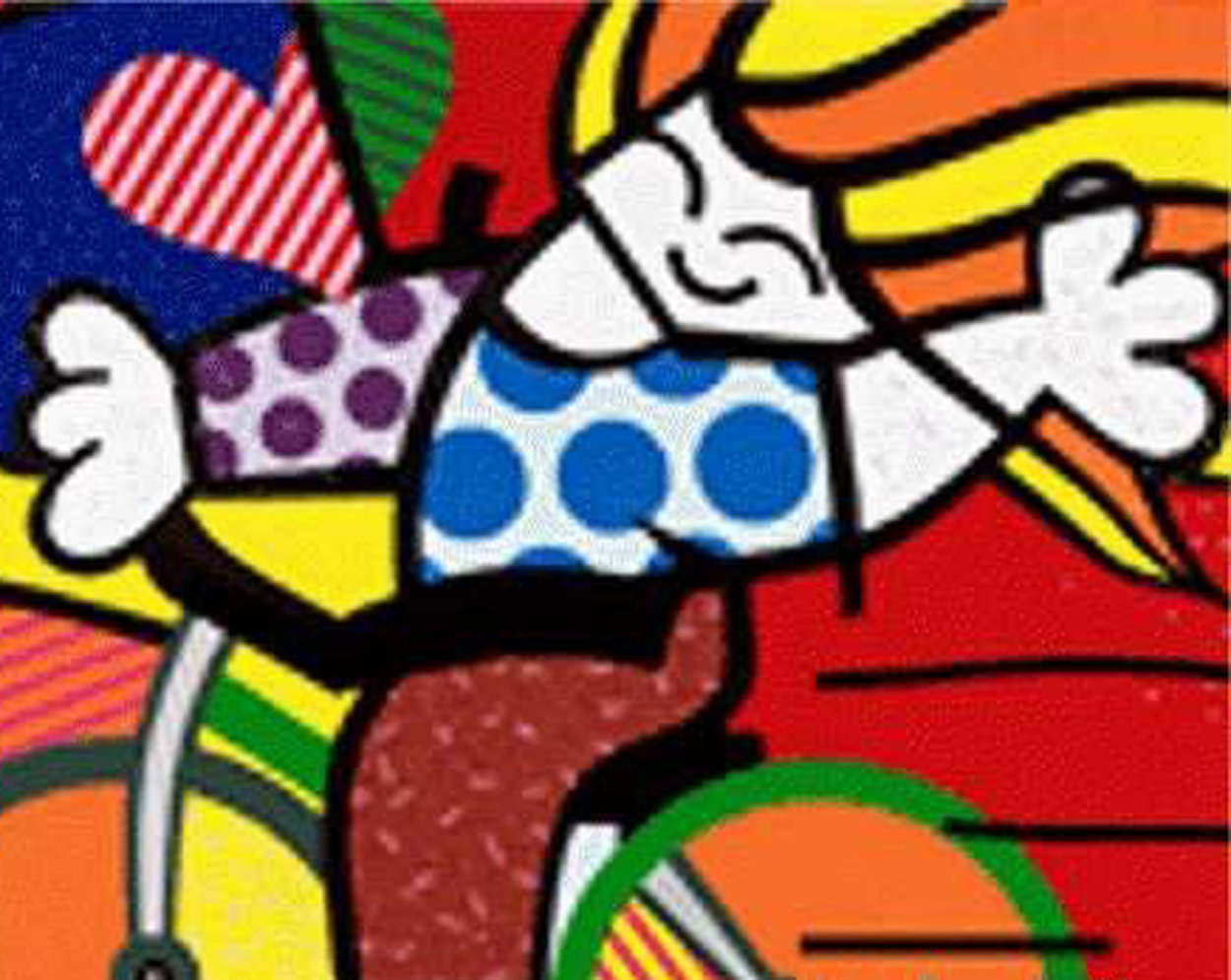 Girl on Bicycle 1992 Embellished Limited Edition Print by Romero Britto