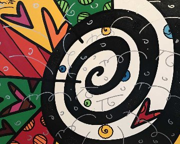 Untitled (MIX) Painting 2006 39x45 Super Huge Original Painting - Romero Britto
