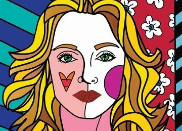 Madonna 2012 75x105 Mural Super Huge Original Painting - Romero Britto
