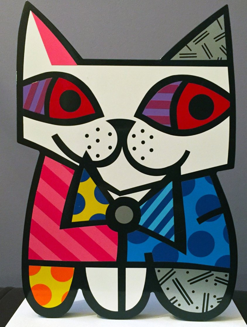 Cat Resin Sculpture 2002 17 in Sculpture by Romero Britto