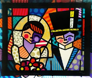 Bride And Groom (Black) 1994 Limited Edition Print by Romero Britto