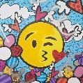 Kiss Emoji 2018 41x41 Original Painting - Romero Britto