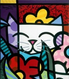 Cat Behind the Flowers 2004 Limited Edition Print by Romero Britto