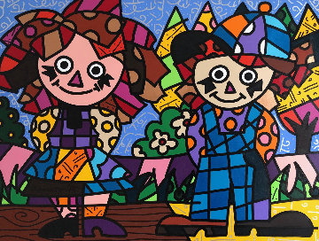 Ann And Andy 34x49 Original Painting by Romero Britto