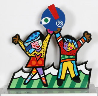 Circle of Love Iron Sculpture AP 2003 17 in Sculpture by Romero Britto