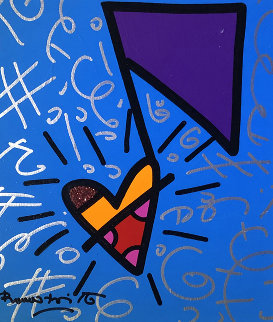 One Note Unique 2016 26x24 Original Painting - Romero Britto