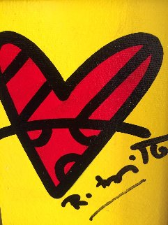 With Love 2017 14x13 Original Painting by Romero Britto