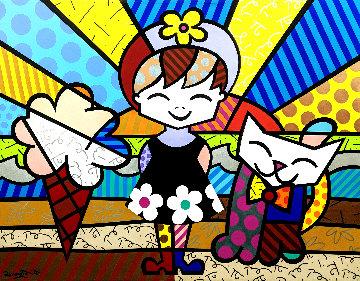 Brianna 1999 66x86 Original Painting - Romero Britto