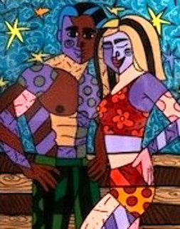 Miami Beach Honeymoon 2004 45x37 Original Painting - Romero Britto