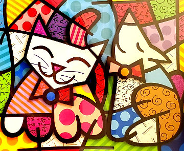 Happy Cat Snob Dog 3-D 2018 Limited Edition Print - Romero Britto