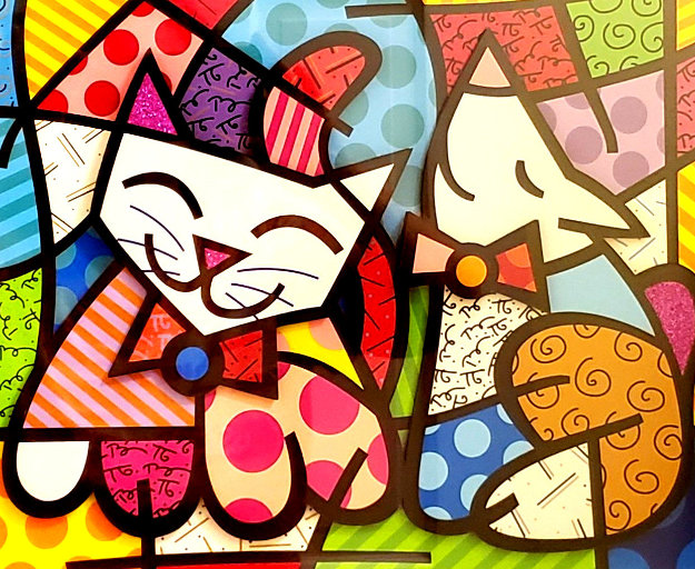 Happy Cat Snob Dog 3-D 2018 Limited Edition Print by Romero Britto