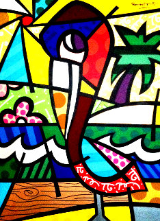 Colorful Florida Pelican   48x36 Original Painting - Romero Britto