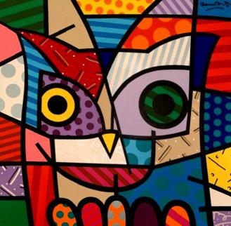 Owl 1999 48x48 Original Painting by Romero Britto