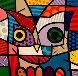 Owl 1999 48x48 Original Painting by Romero Britto - 0