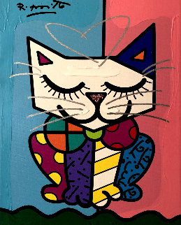 Cat Pink IV 2018 25x22 Original Painting - Romero Britto