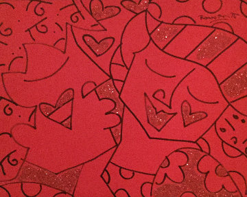Kisses 2001 40x34 Original Painting - Romero Britto