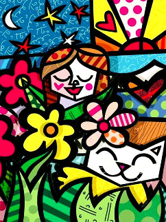 Girl & Cat XLVIII 2019 3-D 25x23 Original Painting - Romero Britto