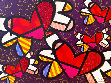 Love is in the Air 2009 30x40 Huge  Limited Edition Print - Romero Britto